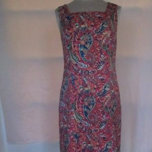 TALBOTS Textured  Pink Paisley Halter Dress SIZE 6